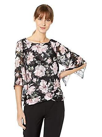 Alex Evenings Womens Asymmetric Tulip Tier Chiffon Blouse Shirt (Missy Petite), Black/Pink Floral, L