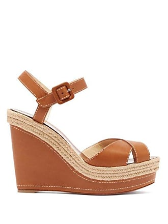 2b1104ef29 Christian Louboutin Almeria 120 Jute Trim Leather Wedge Sandals - Womens -  Tan