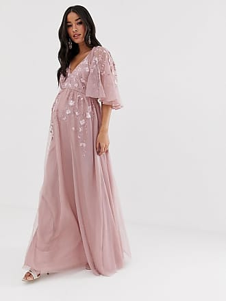 7f35c2860b7 Asos Maternity flutter sleeve maxi dress in embroidered mesh