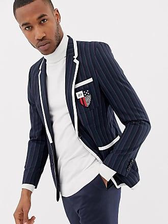 Asos slim blazer in green stripe with badging - Green
