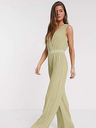 Y.A.S. Tall pleated jumpsuit with deep v neck in green
