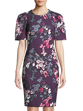 Iconic American Designer Floral-Print Puff-Sleeve Sheath Dress