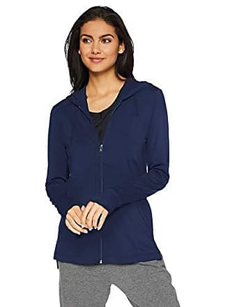 Natori Womens Jersey Zip-Up Jacket, Midnight Navy X-Large