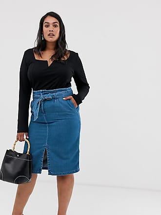 Vero Moda Curve denim midi skirt with tie waist - Blue