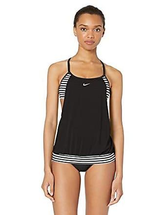 c74941e1c4f9b Nike Swim Womens Layered Sport Tankini Swimsuit Set, Black Laser Stripe,  Medium