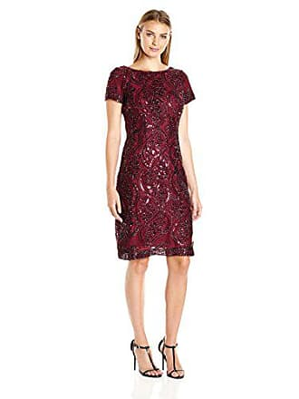 Sandra Darren Womens Sd Collection Short Cap Sleeve Sequin & Embroidery Lace Dress, Burgundy Honor, 10