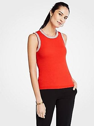 ANN TAYLOR Contrast Stitched Sweater Shell