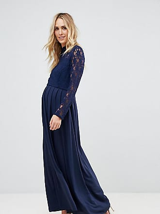 Queen Bee Over Lace Top Maxi Dress With Open Back - Navy