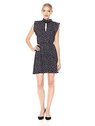 The Fifth Label Womens Atlanta Polka Dot Printed Dress, Navy W Peach, X-Small