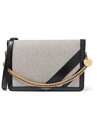Givenchy Gv Cross Suede-trimmed Canvas And Textured-leather Shoulder Bag - Black