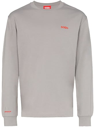 032c cosmic workshop logo embroidered cotton T-shirt - Grey