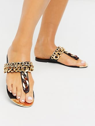 River Island chain detail thong sandal in black
