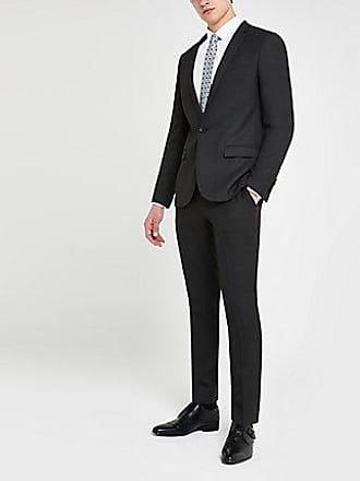 River Island Mens Dark grey textured skinny suit pants