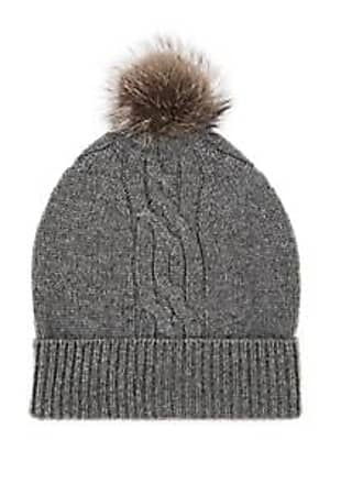 b4a25f8e3c5 Barneys New York Mens Fur-Trimmed Cable-Stitch Cashmere Beanie - Light Gray  Size