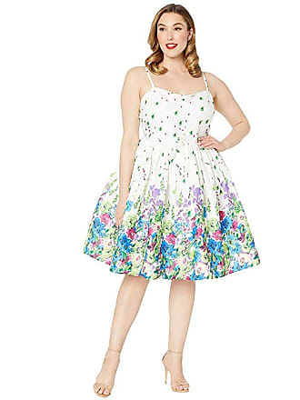 db72e32984 Unique Vintage Plus Size 1950s Darcy Swing Dress (White/Floral Print)  Womens Dress