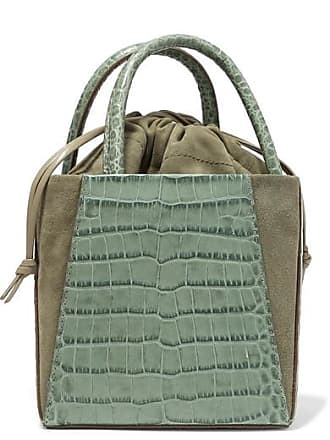 Trademark Dorthea Box Croc-effect Leather And Suede Tote - Gray green