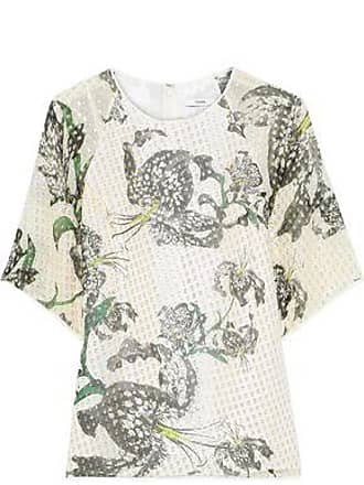 Erdem Erdem Woman Voni Printed Metallic Fil Coupé Silk-blend Blouse Green Size 14