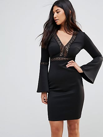 Club L Club L Crochet Trim Detail Flute Sleeve Bodycon Dress - Black