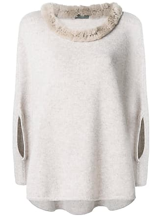 N.Peal fur collared cashmere poncho - Neutrals