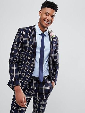 Asos Tall Wedding - Veste de costume ultra ajustée à carreaux effet gaufré  - Bleu marine f8ed7e8df88