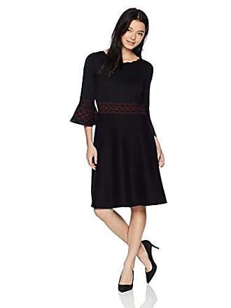 3176456bb6 Gabby Skye Womens Petite 3 4 Bell Sleeve Round Neck Sweater Fit Flare Dress