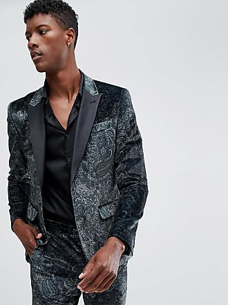 Asos skinny tuxedo suit jacket in forest green paisley print - Green