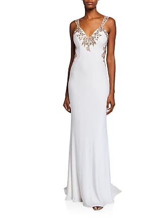 fa908c1d827 Faviana V-Neck Sleeveless Embellished Applique Jersey Gown w/ Cutout Back