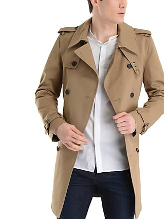 The Kooples Trench homme croisé mi-long en twill de coton Beige The Kooples b09f2cd7ef2