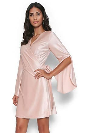 Lucy in the Sky Vestido veludo transpassado nude