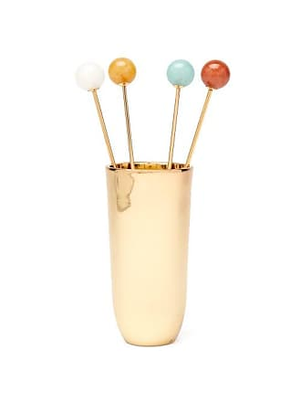 Aerin Set Of Four Anette Brass Cocktail Picks - Gold