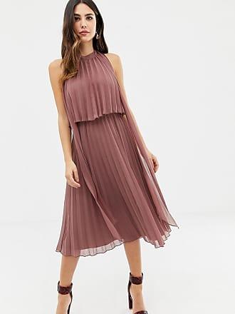 bfcb9417052 Asos halter tie neck midi dress in pleat - Pink