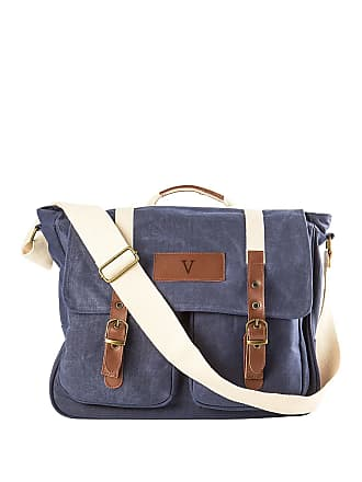 Cathy's Concepts Monogrammed V Navy Waxed Canvas Messenger Bag