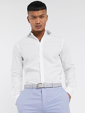 Twisted Tailor Camicia bianca con colletto con bordi a contrasto-Bianco