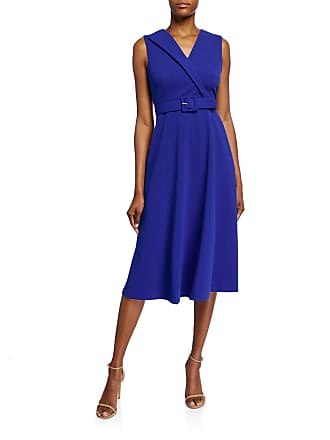 Iconic American Designer Belted Fit-&-Flare Midi Dress