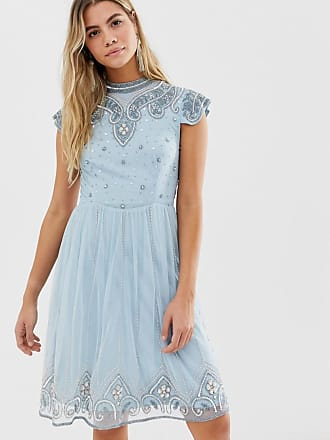 Frock and Frill Frock And Frill high neck mini dress with allover embellishment in soft blue - Blue
