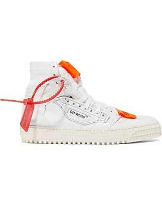 5816dd69e2937 Off-white Off-court Logo-embellished Canvas And Leather High-top Sneakers
