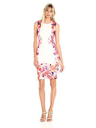 7e6f83cfbfd2 Calvin Klein Womens Sleeveless Sheath Dress with Floral Border Print,  Watermelon Multi, 10
