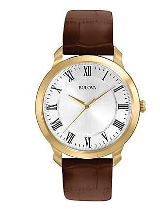 Zales Mens Bulova Dress Rose-Tone Strap Watch with Silver-Tone Dial (Model: 97A107)