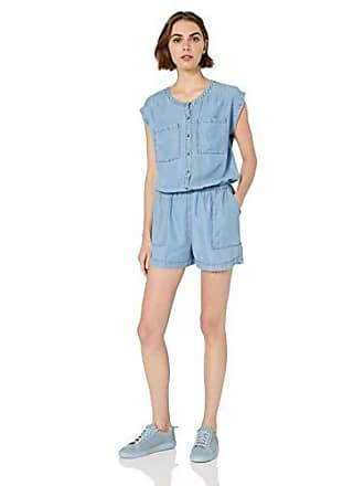 Daily Ritual Womens Tencel Short-Sleeve Utility Romper, Light Wash, 8