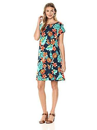 Ruby Rd. Womens Scoop-Neck Printed Short Sleeve Swing Dress, Dark Lagoon Multi, Medium