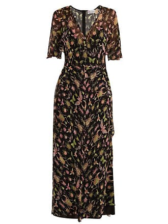 5225eab279 Red Valentino Redvalentino - Bug Print V Neck Silk Chiffon Midi Dress -  Womens - Black