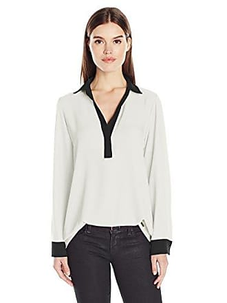 Calvin Klein Womens Long Sleeve Top with Contrasting Cuff, Soft White, XS