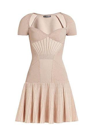 Alexander McQueen Alexander Mcqueen - Sweetheart Neck Short Sleeved Wool Blend Dress - Womens - Pink
