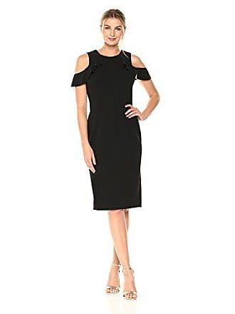 Ivanka Trump Womens Scuba Crepe Ruffle Cold Shoulder Pipping Midi Sheath Dress, Black, 4