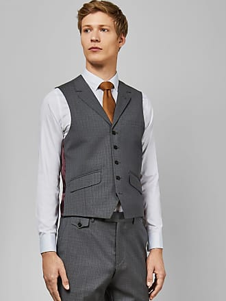Ted Baker Sterling Small Check Waistcoat in Grey COLMANW, Mens Clothing