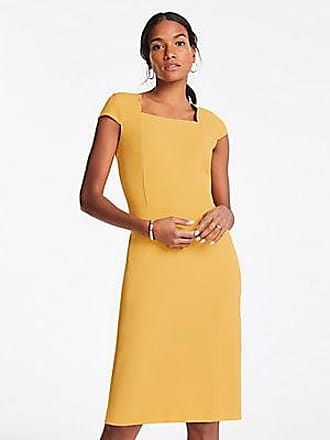 ANN TAYLOR Scalloped Square Neck Cap Sheath Dress