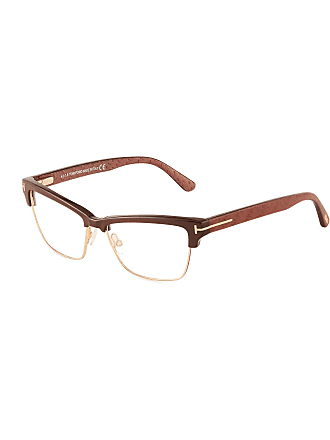 Tom Ford Acetate/Metal Cat-Eyed Brow-Line Optical Glasses