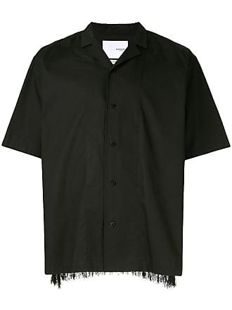 Yoshiokubo camp collar fringed shirt - Black