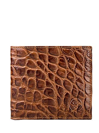 Maxwell Scott Maxwell Scott - Luxury Crocodile Print Brown Leather Wallet with Coin Pocket
