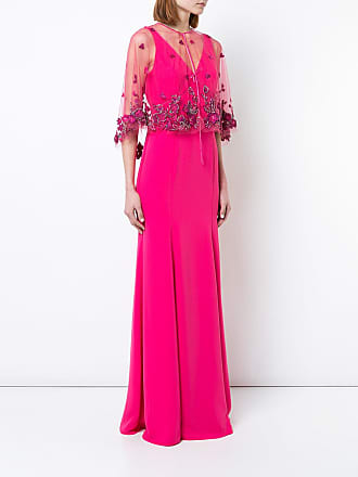 Marchesa floral shawl evening dress - Pink